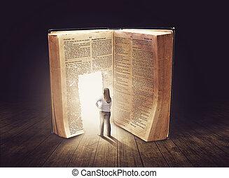 patrząc, wielki, kobieta, książka