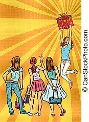 patrzeć, dziewczyna, dar, kobiety, klienci