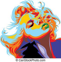 patrzeć, marilyn, dziewczyna, blondynka, monroe, podobny