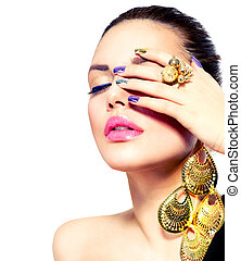 paznokieć, fason, beauty., sztuka, manicure, make-up.