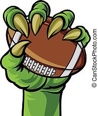 pazur, potwór, dzierżawa piłka nożna, ręka, piłka