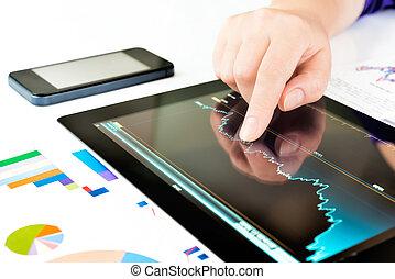 pc, ekran, dotykanie, tabliczka, ręka