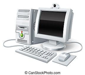 pc komputer, mysz, hydromonitor, klawiatura