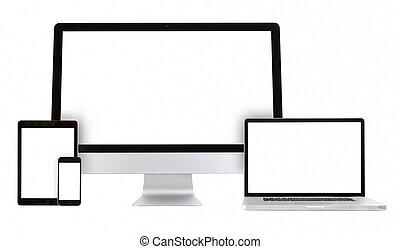 pc komputer, telefon, tabliczka, laptop