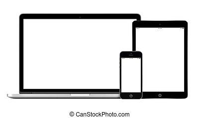 pc, laptop, smartphone, tabliczka, mockup