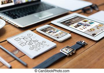 pc, laptop, tabliczka, do góry, smartphone, zamknięcie