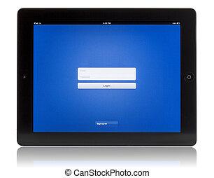 pc, tabliczka, login, ekran