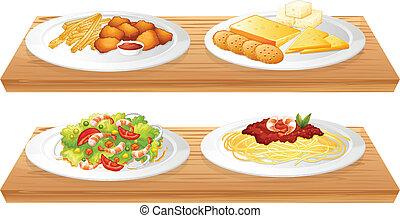 pełny, drewniany, dwa, cztery, pokarmy, płyty, tace