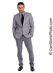 pełny, handlowy, pomyślny, lenth, garnitur, człowiek, przystojny