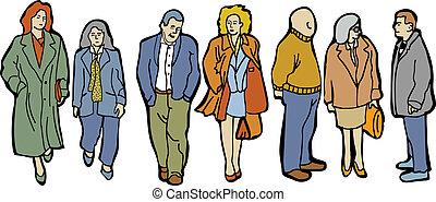 pełny, ludzie, długość, grupa