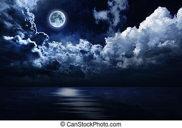 pełny, na, niebo, księżyc, woda, noc