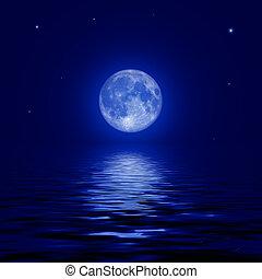 pełny, odbijał się, powierzchnia, księżyc, woda, gwiazdy
