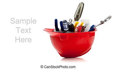 pełny, przestrzeń, kapelusz, twardy, pomarańcza, biały, kopia, narzędzia