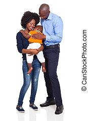 pełny, rodzina, młody, długość, afrykanin, szczęśliwy
