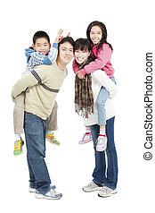 pełny, rodzina, odizolowany, długość, asian, biały, szczęśliwy