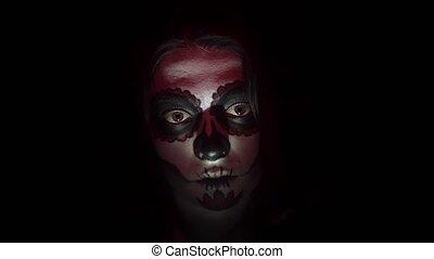 pełzający, charakteryzacja, portret kobiety, święty, halloween, muerte, styl