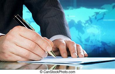 pen., handlowy, międzynarodowy, kupiec, ręka, pojęcie