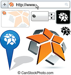 pentagon, handlowy, abstrakcyjny, logo, design.
