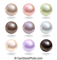 perły, różny, kolor