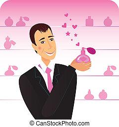 perfumy, flacon, człowiek, romans