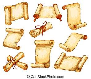 pergamin, papier, rękopisy, woluta, wały, wektor, rys