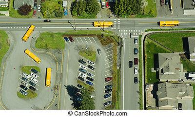 perspektywa, szkoła, antena, abstrakcyjny, autobusy