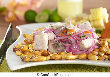 peruwiański, fish, wstecz, surowy, upieczony, cebule, poza, (peruvian, mahi-mahi, aji, gorący, (spanish:, czerwony, corn., cocktail, nagniotek, pepper), ceviche, (cancha), perico), c, robiony, peruvian-style, gotów, obsłużony