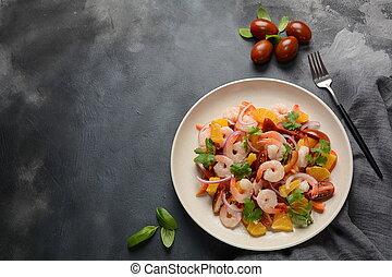 peruwiański, krewetka, ceviche, krewetka