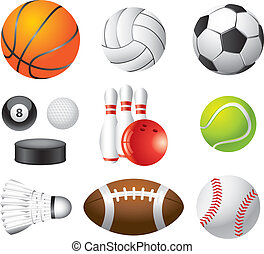 photo-realistic, komplet, sport, wektor, piłki