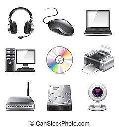 photo-realistic, komputer, komplet, wektor, ikony