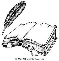pióro, książka, otworzony, rysunek