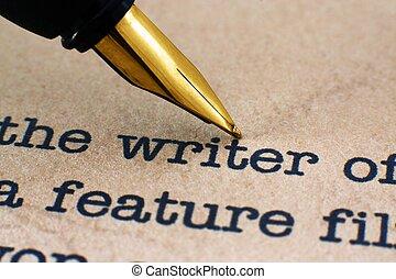 pióro, pisarz, fontanna