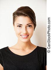 piękna kobieta, aparat fotograficzny, młody, włosy, krótki, portret, szykowny, uśmiechanie się, beauty.