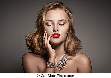 piękna kobieta, biżuteria, fason, luksus, portret