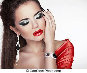 piękna kobieta, biżuteria, makijaż, przybory, usteczka, fason, portret, sexy, czerwony