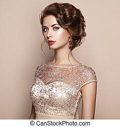 piękna kobieta, elegancki, fason, portret, strój