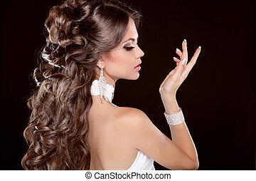 piękna kobieta, hairstyle., długi, blask, fason, hair., portret