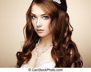 piękna kobieta, hairstyle., fotografia, elegancki, dress., poślubny portret, fason, czuciowy