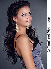 piękna kobieta, hairstyle., piękno, długi, dodatkowy, earrings., hair., czarnoskóry, wzór, portrait., dziewczyna