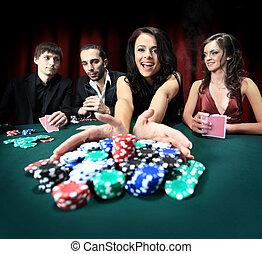 piękna kobieta, interpretacja, młody, kasyno