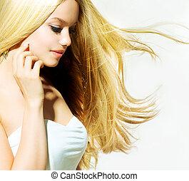 piękna kobieta, jej, piękno, młody, twarz, dotykanie, portrait.