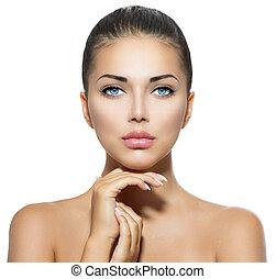 piękna kobieta, jej, piękno, twarz, dotykanie, portrait., zdrój