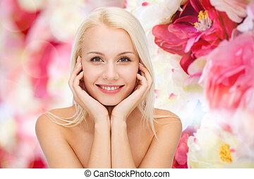 piękna kobieta, jej, twarz, dotykanie, skóra