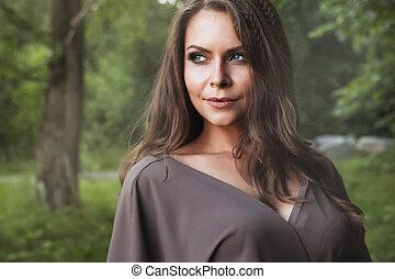 piękna kobieta, jesień, girl., fall., fason, portrait.