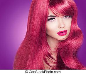 piękna kobieta, kolorowanie, haired, długi, jasny, fason, portrait., makeup., hair., czerwony, połyskujący