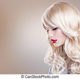 piękna kobieta, kudły, falisty, portrait., blond, blondynka, dziewczyna