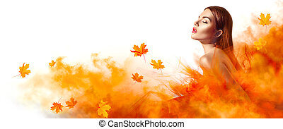 piękna kobieta, liście, żółty, jesień, fason, przedstawianie, studio, spadanie, strój