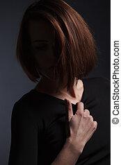 piękna kobieta, młody, długi, ciemny, fason, studio, hair., portret