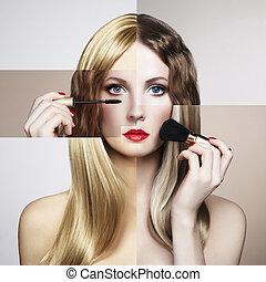 piękna kobieta, młody, fason, konceptualny, portret