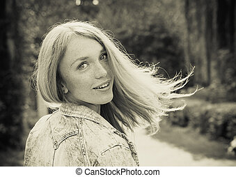 piękna kobieta, młody, outdoors